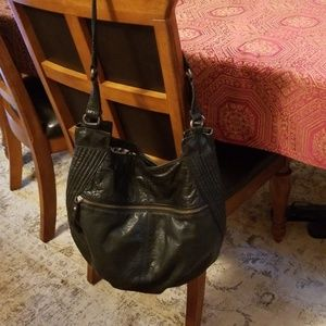 Andrew Marc genuine leather hobo bag, black
